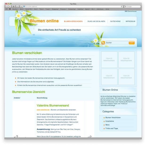 Blumen Online - programação e customização de template
