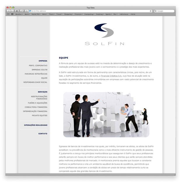 SolFin - programação de site institucional em XHTML