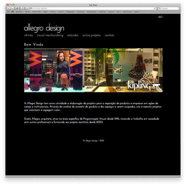 Allegro Design - programação de site institucional - página inicial