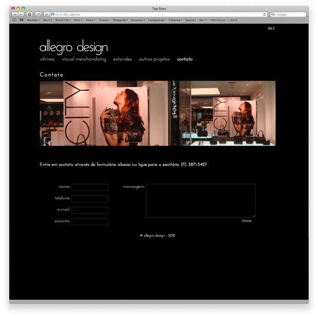 Allegro Design - programação de site institucional - página de contato