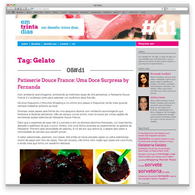 Em trinta dias - blog - página inicial