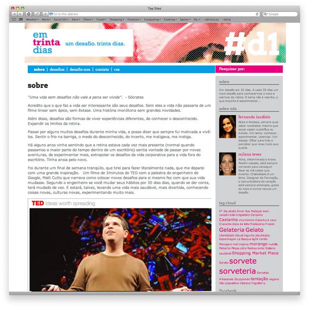 Em trinta dias - blog - página sobre