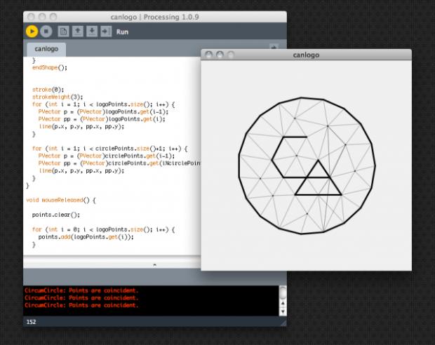 Projeto do logo criado em processing para a Creative Applications Network